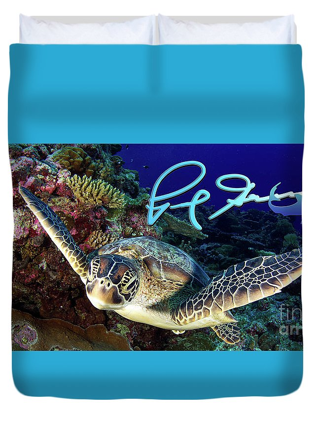 Green Duvet Cover featuring the photograph Flying Green Turtle With Logo by Paul Gruner