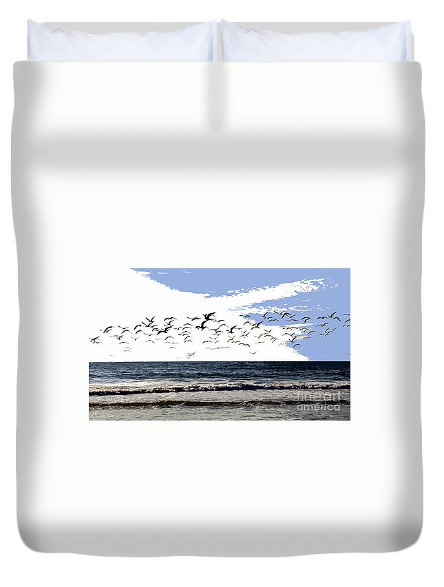 Beach Duvet Cover featuring the painting Flying Gulls by David Lee Thompson