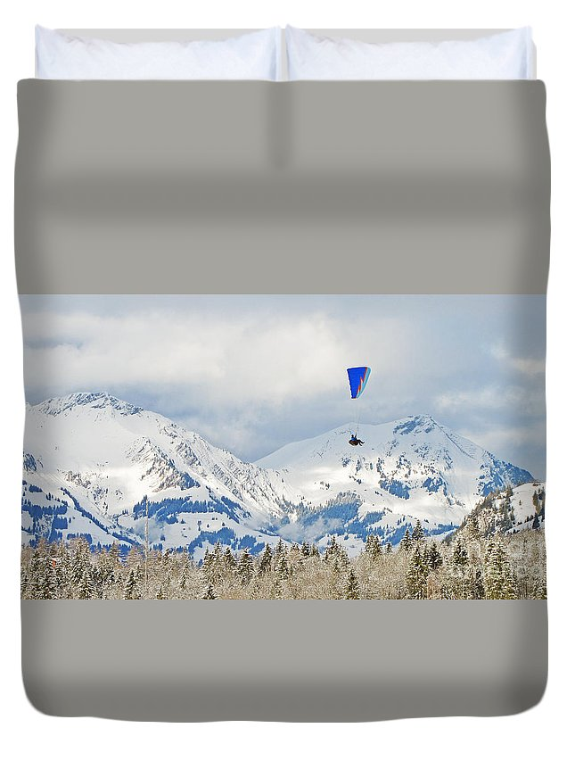 Flying Duvet Cover featuring the photograph Flying High In Kandersteg, Switzerland by Die Farbenfluesterin