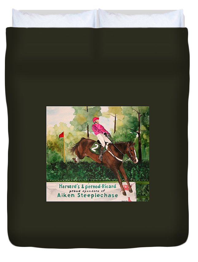 Horse Duvet Cover featuring the painting Flying High by Jean Blackmer