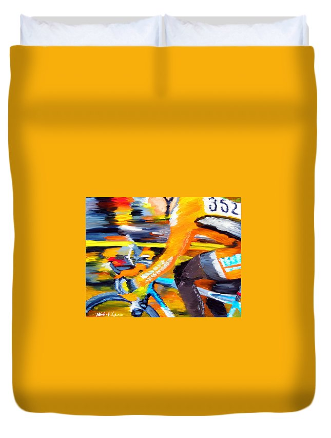Cycling Duvet Cover featuring the painting Flying Orange by Michael Lee