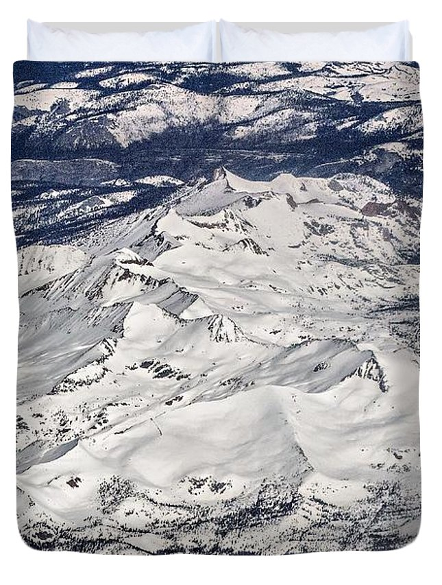 Mountain Duvet Cover featuring the photograph Flying Over Colorado Rocky Mountains by Alex Grichenko