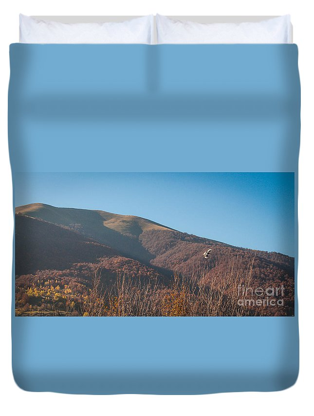 Nature Duvet Cover featuring the photograph Flying Over The Morning by Lyudmila Prokopenko