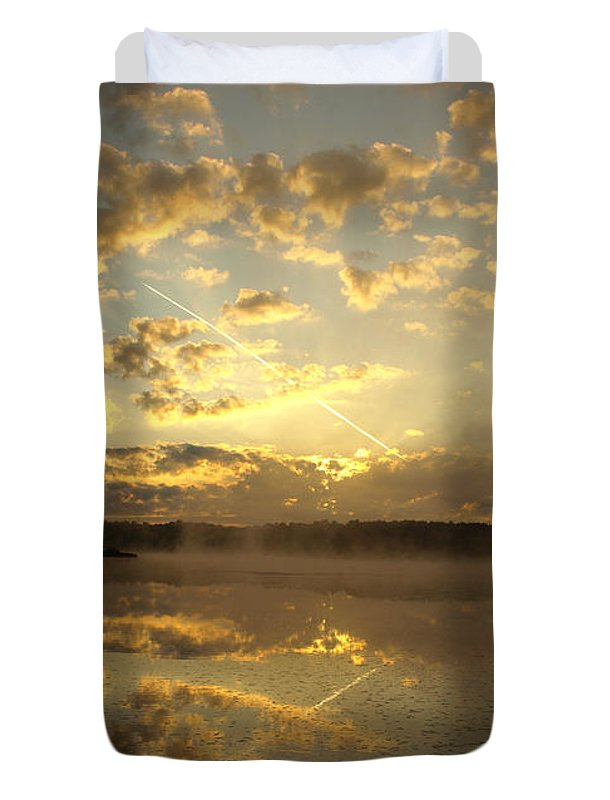 Sunrise Duvet Cover featuring the photograph Flying Reflections by Thomas Young