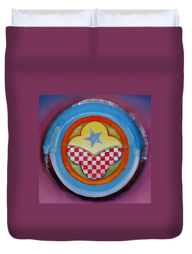 Logo Duvet Cover featuring the painting Flying Star by Charles Stuart
