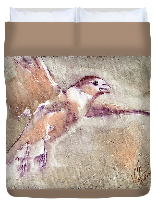 No People Duvet Cover featuring the painting Flying by Vali Irina Ciobanu