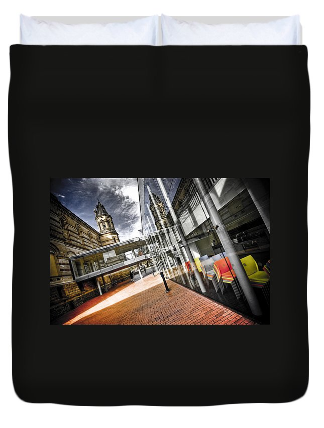 Flyover Duvet Cover featuring the photograph Flyover by Wayne Sherriff