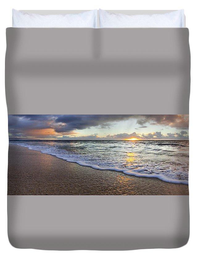 Foam Duvet Cover featuring the photograph Foam Sunset by Sean Davey