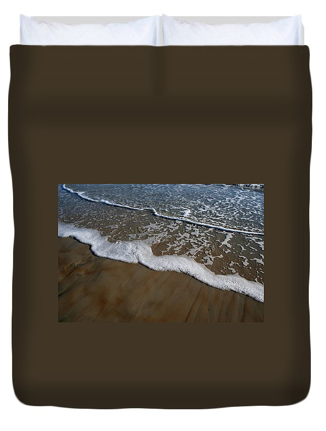 Beach Sand Wave Waves Foam Foamy White Sunny Clear Water Ocean Duvet Cover featuring the photograph Foamy Water by Andrei Shliakhau