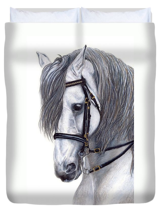 Horse Duvet Cover featuring the drawing Focus by Kristen Wesch