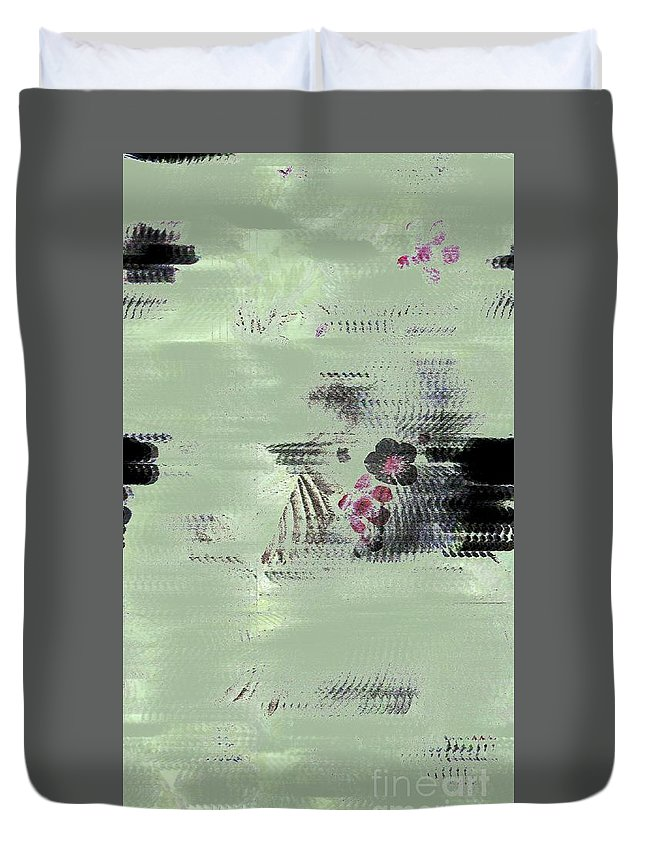 Flower Duvet Cover featuring the digital art Fog And Flowers by Dominique Favre