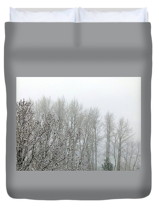 Fog Duvet Cover featuring the photograph Fog And Light Snow by Will Borden