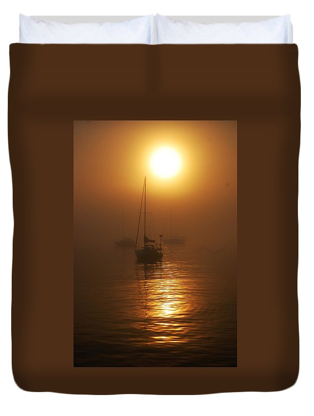 Fog Duvet Cover featuring the photograph Fog Breaking On Superior by Robert Coffey