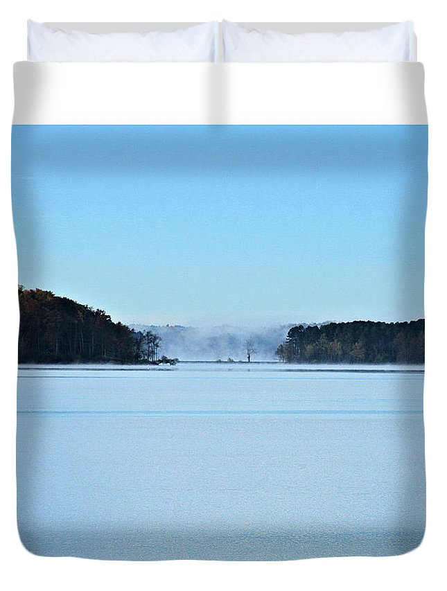 Lake Duvet Cover featuring the photograph Fog In The Distance by John Lewis