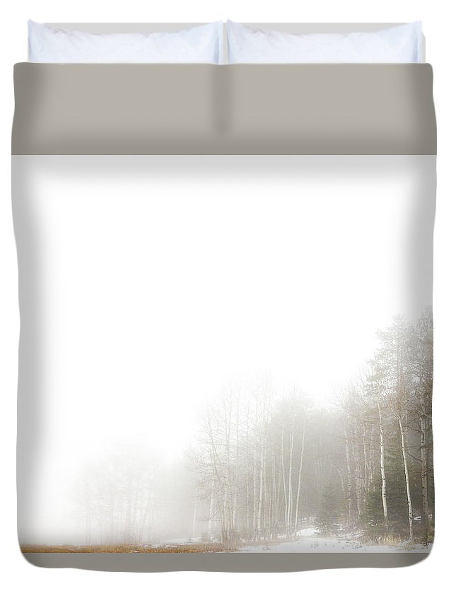 Colorado Duvet Cover featuring the photograph Fog In The Meadow by Martina Haaga