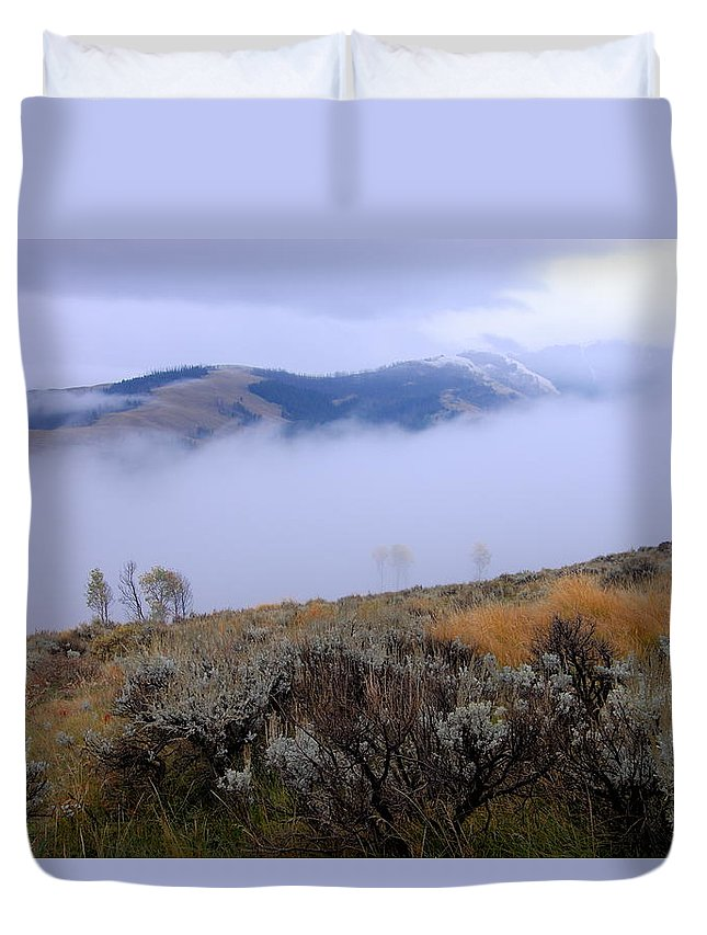 Yellowstone National Park Duvet Cover featuring the photograph Fog In The Valley by Larry Ricker