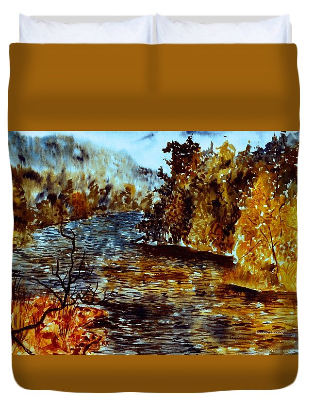 Mountain Lake Duvet Cover featuring the painting Fog on Mountain Lake by Kendall Kessler