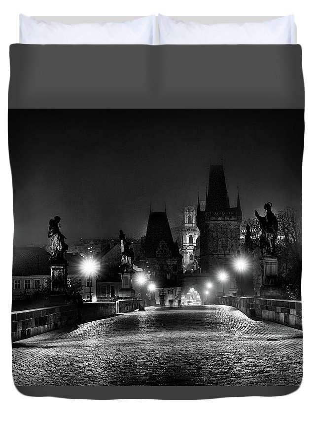 Czech Duvet Cover featuring the photograph Fog On The Charles Bridge #2 - Prague by Stuart Litoff