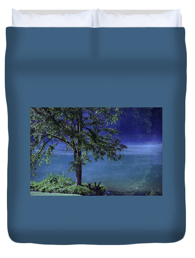 Landscape Duvet Cover featuring the photograph Fog Over The Pond by Susanne Van Hulst