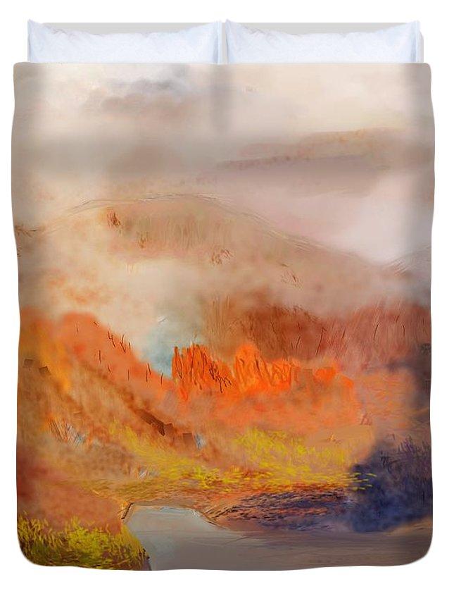 Fine Art Duvet Cover featuring the digital art Foggy Autumnal Dream by David Lane