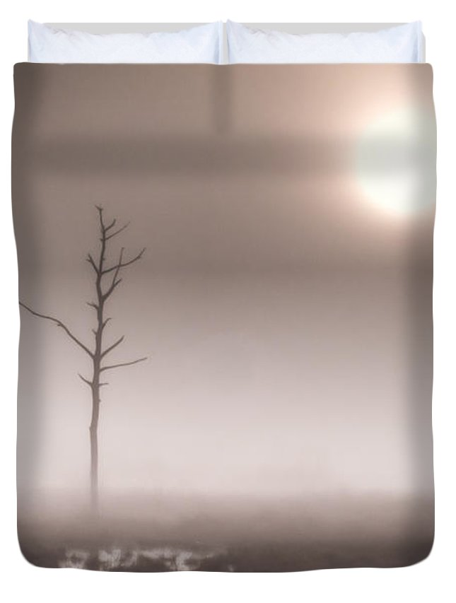 Adventure Duvet Cover featuring the photograph Foggy Dawn And The Burning Sun by Rich Leighton