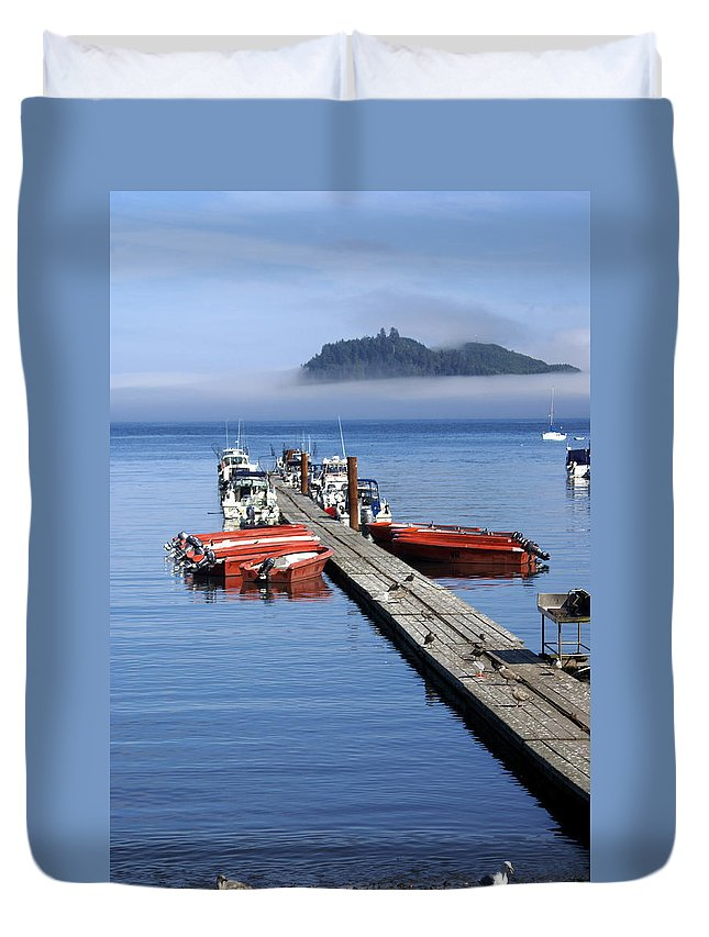 Olympic Duvet Cover featuring the photograph Foggy Dock by Marty Koch