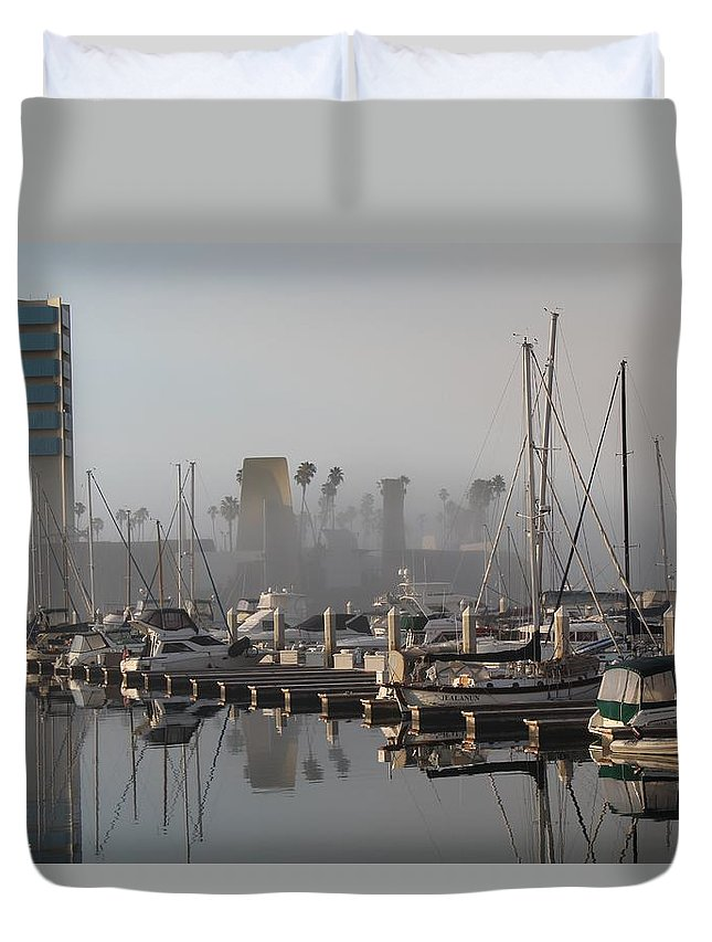 Marina Duvet Cover featuring the photograph Foggy Marina Morning 2 by Robert Butler