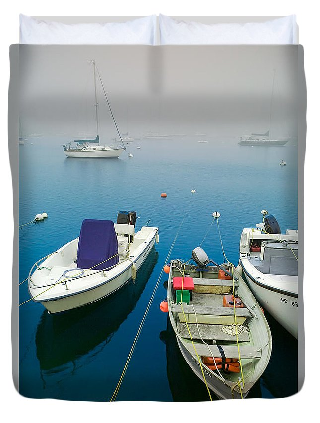 Blue Duvet Cover featuring the photograph Foggy Morning In Cape Cod Massachusetts by Matt Suess