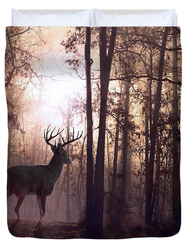 Deer Duvet Cover featuring the digital art Foggy Morning In Missouri by Bill Stephens
