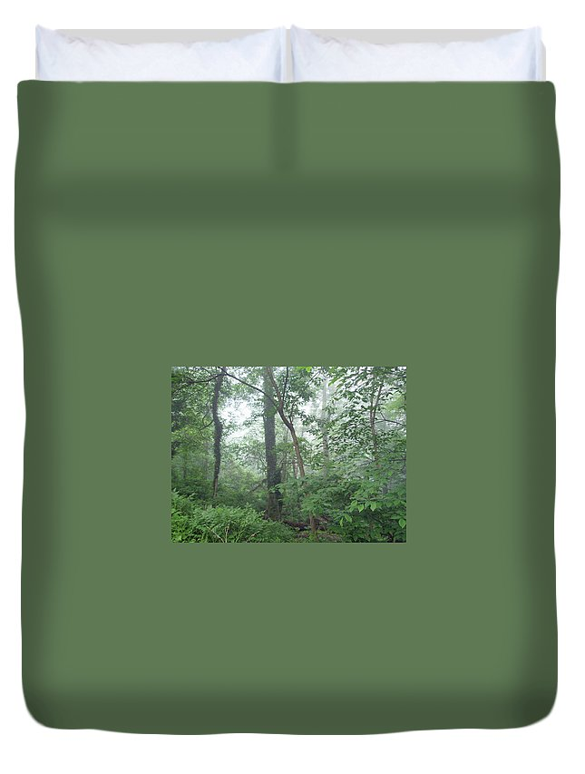 Woods Duvet Cover featuring the photograph Foggy Morning In The Woods by Mother Nature