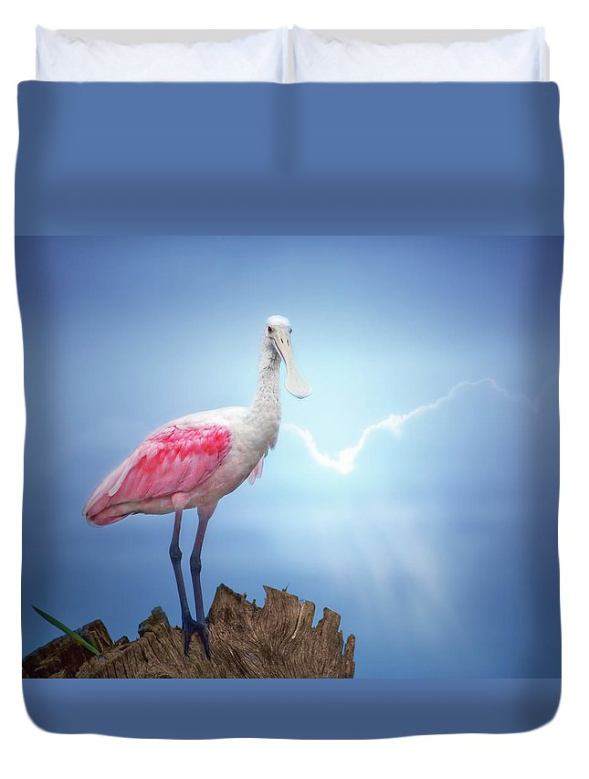 Roseate Spoonbill Duvet Cover featuring the photograph Foggy Morning Spoonbill by Mark Andrew Thomas