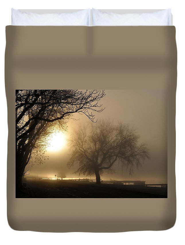 Foggy Duvet Cover featuring the photograph Foggy November Sunrise On The Bay by Tim Nyberg