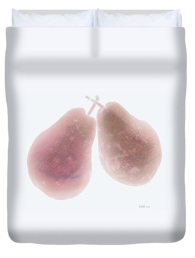 Pear Pair Stem Red White Fruit Duvet Cover featuring the photograph Foggy Plum Pears by Heather Kirk