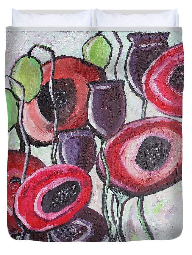 Poppy Flowers Duvet Cover featuring the painting Foggy Poppy by Sarah Jewett