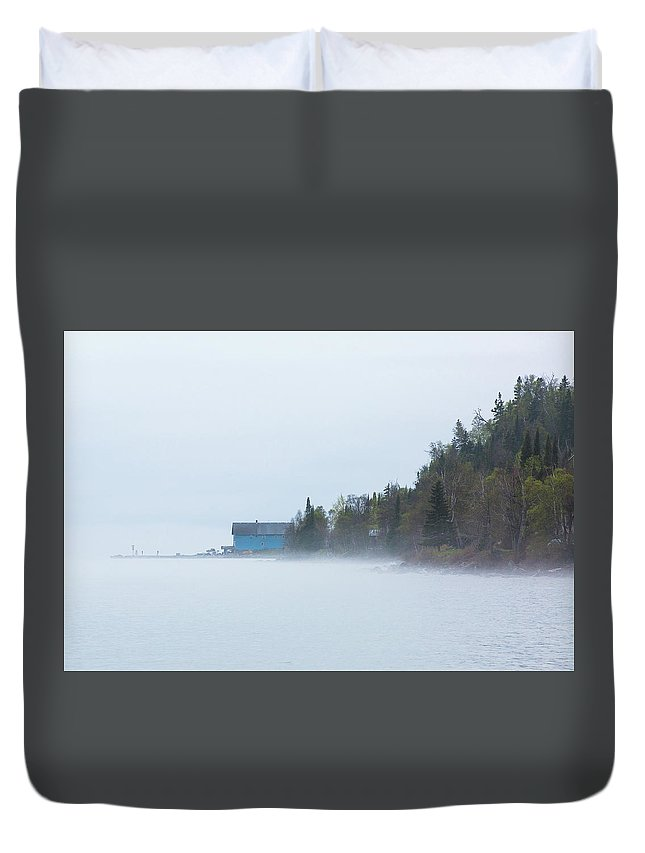 Silver Islet Duvet Cover featuring the photograph Foggy Silver Islet by Linda Ryma