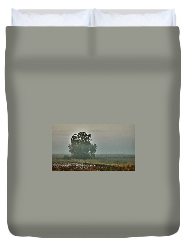 Flowers Duvet Cover featuring the digital art Foggy Tree In The Field by Michael Thomas