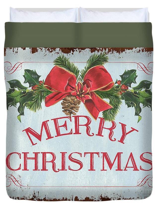 Pine Cone Duvet Cover featuring the painting Folk Merry Christmas by Debbie DeWitt