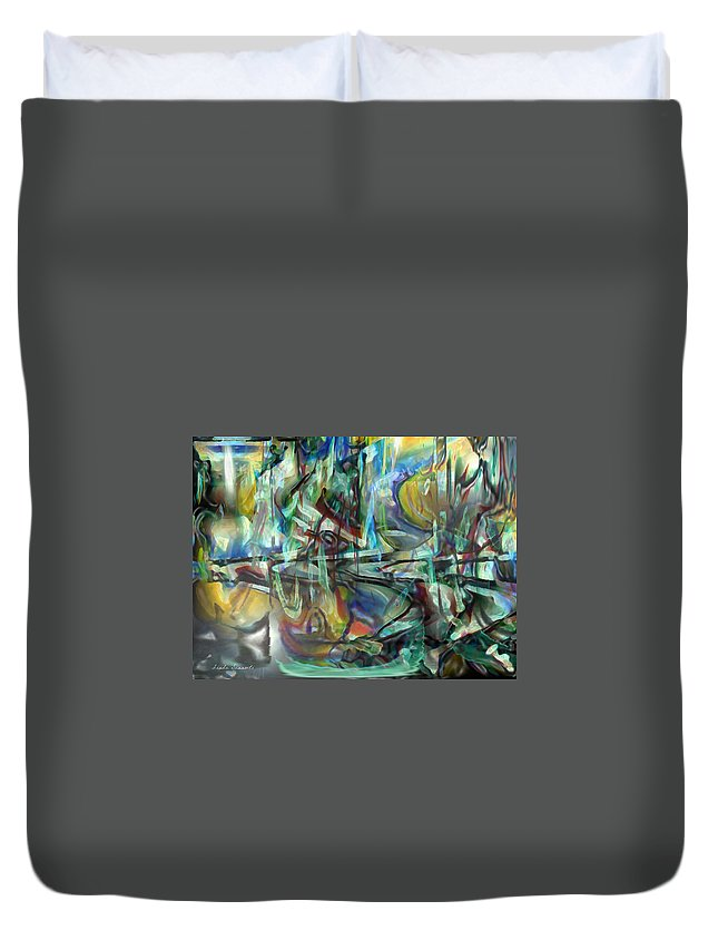 Digital Art Duvet Cover featuring the digital art Follow Me Down To The Valley Below by Linda Sannuti