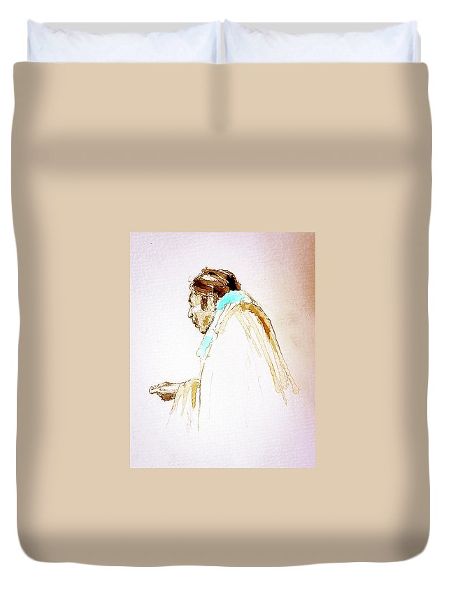 Digital Art Duvet Cover featuring the painting Follow Me by Philip Lodwick Wilkinson