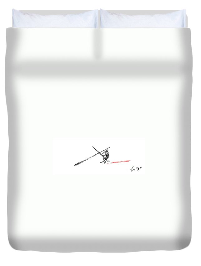 Line Drawing Duvet Cover featuring the painting Follow Me by Reggie Duffie
