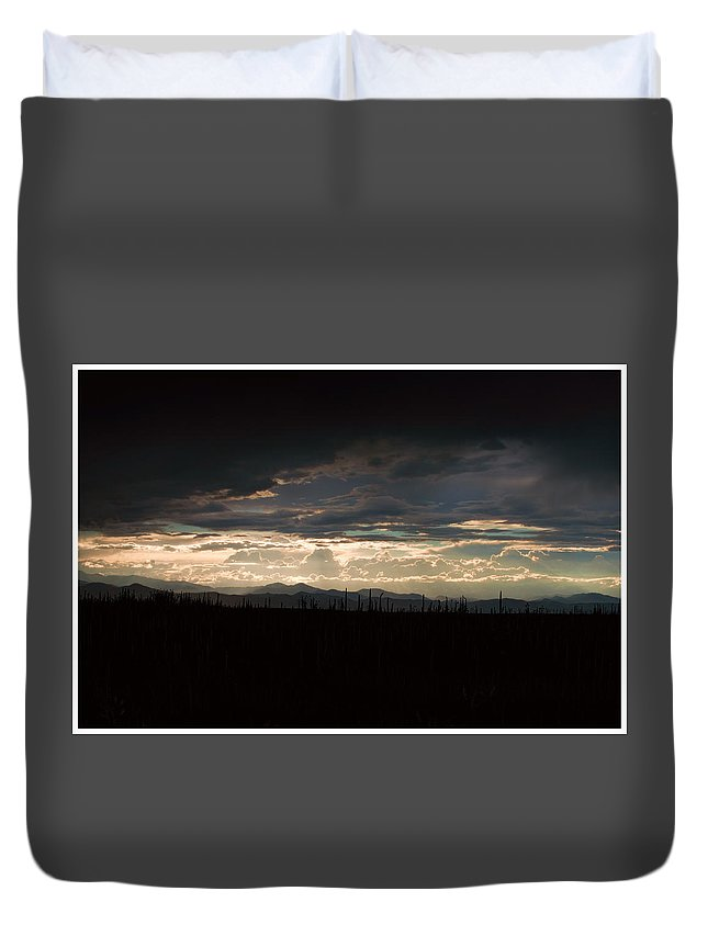 Landscape Duvet Cover featuring the photograph Follow The Rays 2 by Vie ThreeOhThree