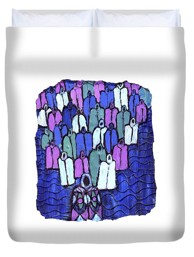 Ancestors Duvet Cover featuring the painting Following The Ancestors by Wayne Potrafka