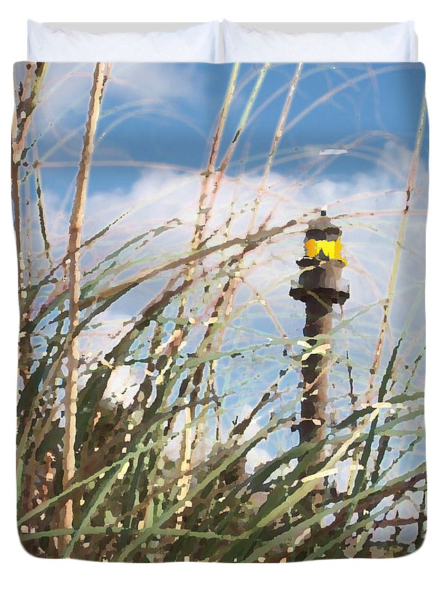 Lighthouse Duvet Cover featuring the digital art Following The Light by Jimi Bush