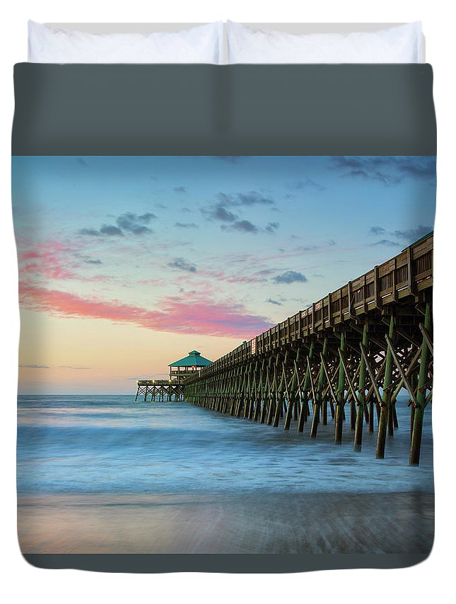 Folly Beach Pier Duvet Cover featuring the photograph Folly Beach Sunrise by Nancy Dunivin