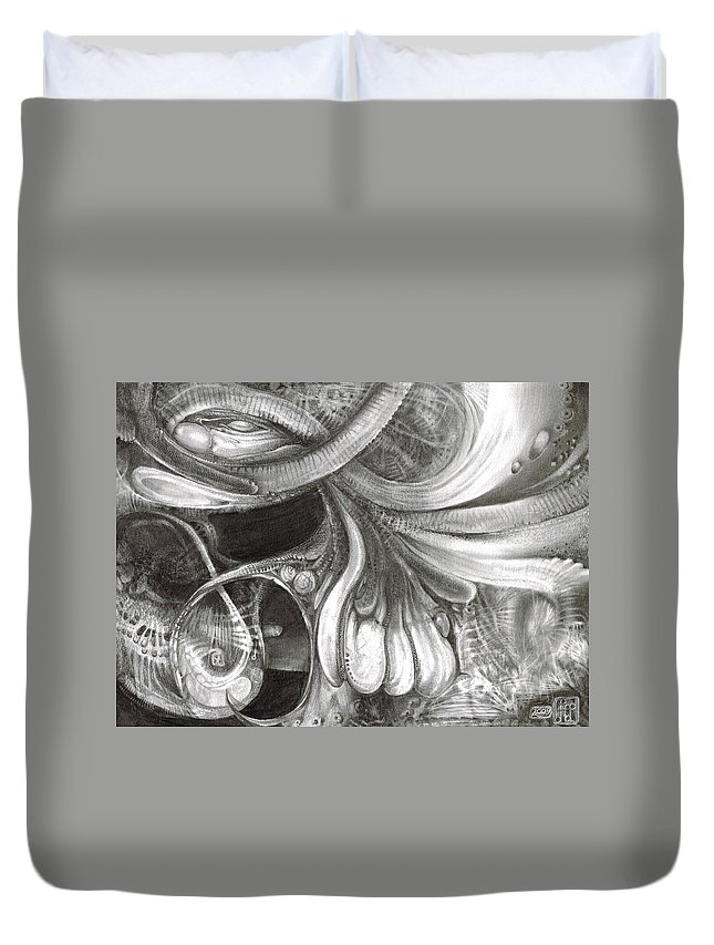 Duvet Cover featuring the drawing Fomorii Pod by Otto Rapp