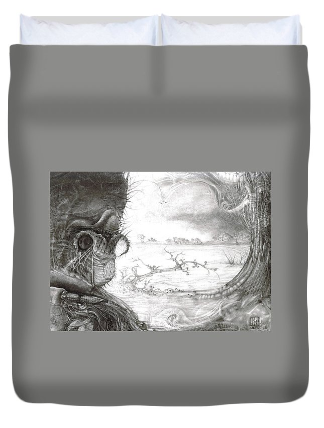 Fomorii Duvet Cover featuring the drawing Fomorii Swamp by Otto Rapp