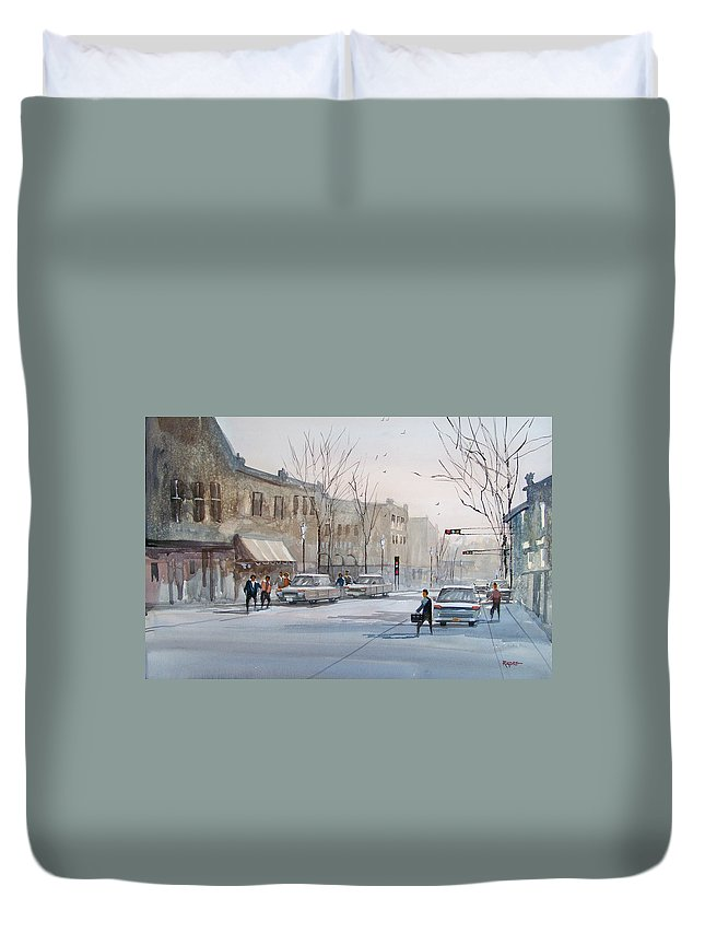 Ryan Radke Duvet Cover featuring the painting Fond Du Lac - Downtown by Ryan Radke