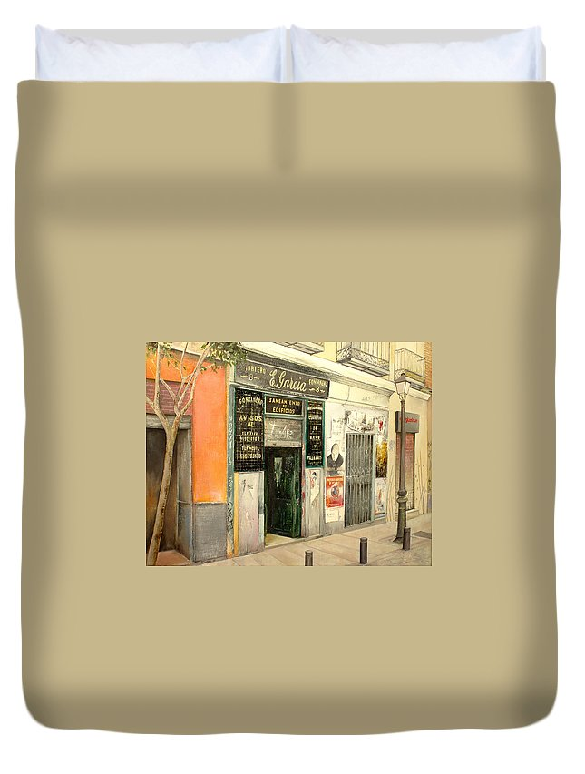 Streetscene Duvet Cover featuring the painting Fontaneria E.garcia by Tomas Castano