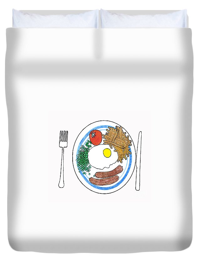 Fries Duvet Cover featuring the drawing Food Of The Gods by Andy Mercer