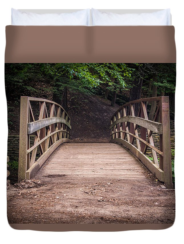 Bridge Duvet Cover featuring the photograph Foot Bridge Waiting by Christy Hibsch